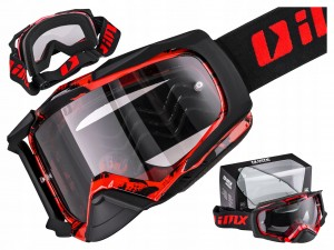 GOGLE IMX DUST GRAPHIC RED/BLACK MATT / 2 SZYBY